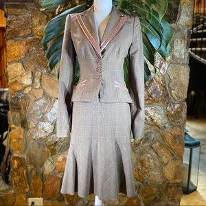 Bebe Skirt Suit With Satin Pink Detail
